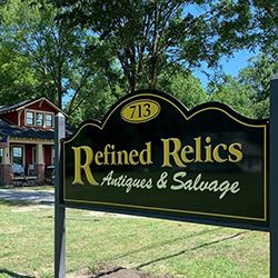 Refined Relics sign in front of shop